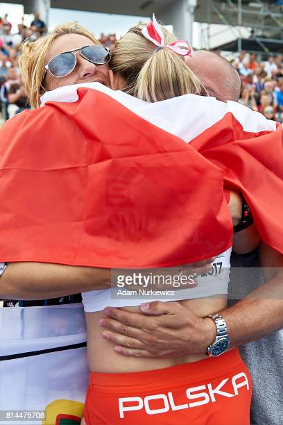 Ewa Swoboda from Poland celebrates victory with her parents women's 100m final during Day 2 of European Athletics U23 Championships 2017 at Zawisza...