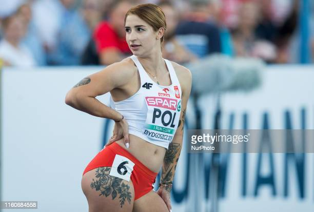 Ewa Swoboda from Poland competes in womens 100 meters Round 1 while European Athletics Team Championships Super League Bydgoszcz 2019 Day One at...