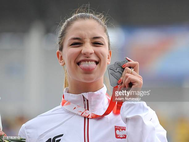 Ewa Swoboda from Poland on the podium after women's 100 metres during the IAAF World U20 Championships at the Zawisza Stadium on July 22 2016 in...