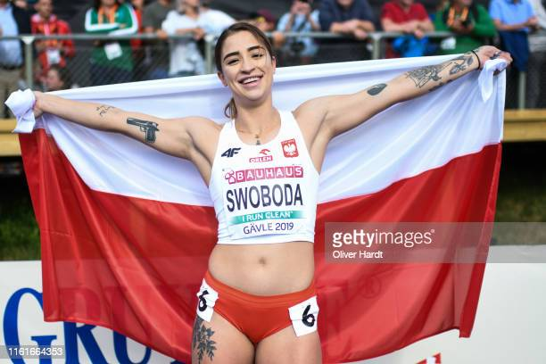 Ewa Swoboda of Poland celebrate after the Women's 100m final during day two of the European Athletics U23 Championships 2019 at the Gavlestadion on...