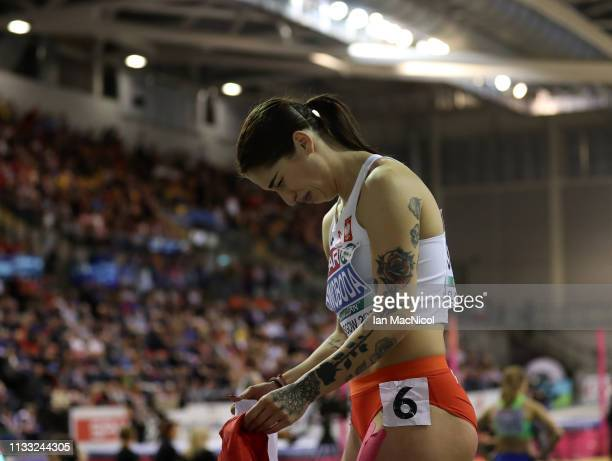 Ewa Swoboda of Poland celebrates after winning the Womens 60m Final during the European Athletics Indoor Championships Day Two at the Emirates Arena...