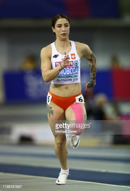 Ewa Swoboda of Poland competes during the Womens 60m Heats during the 2019 European Athletics Indoor Championships Day Two at the Emirates Arena on...
