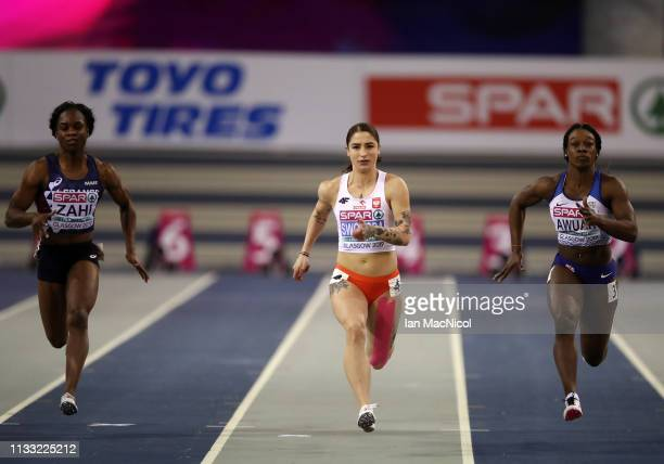 Ewa Swoboda of Poland competes during the Womens 60m Semi FInals during the European Athletics Indoor Championships Day Two at the Emirates Arena on...