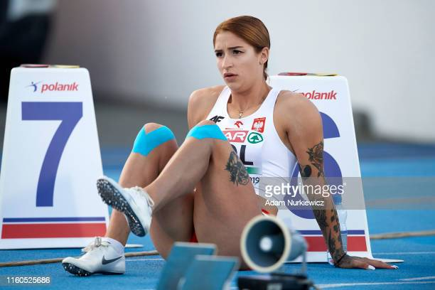 Ewa Swoboda of Poland looks on before the women's 100 meters during the European Athletics Team Championships Super League Bydgoszcz 2019 Day One at...