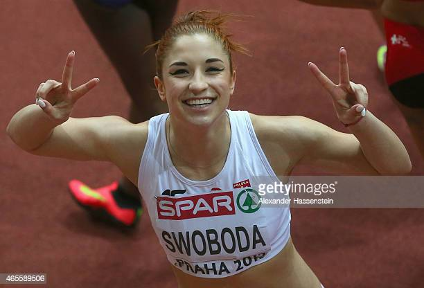 Ewa Swoboda of Poland poses after the Women's 60 metres Final during day three of the 2015 European Athletics Indoor Championships at O2 Arena on...