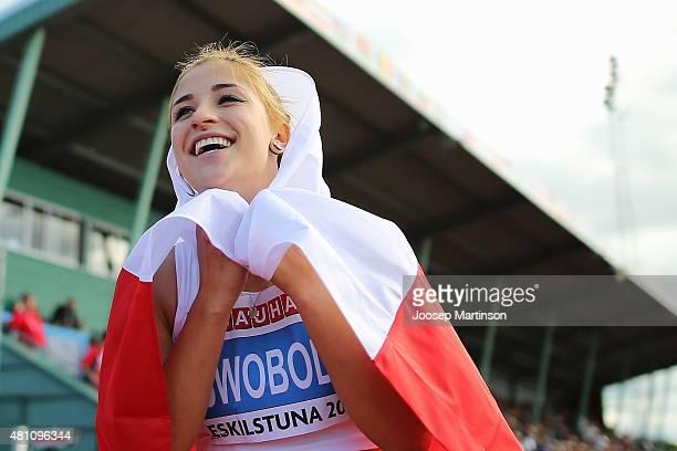 Ewa Swoboda of Poland poses after winning the Women's 100m final at Ekangen Arena on July 17 2015 in Eskilstuna Sweden