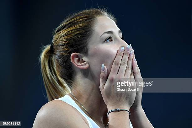 Ewa Swoboda of Poland reacts after competing in round one the Women's 100 metres on Day 7 of the Rio 2016 Olympic Games at the Olympic Stadium on...