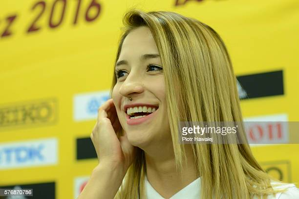 Ewa Swoboda of Poland talks during a press conference at the Zawisza Arena ahead of the IAAF World U20 Championships on July 18 2016 in Bydgoszcz...