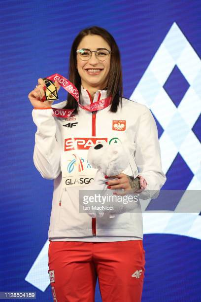 Ewa Swoboda of Poland with her medal after winning gold in the final of the women's 60m on day three of the 2019 European Athletics Indoor...