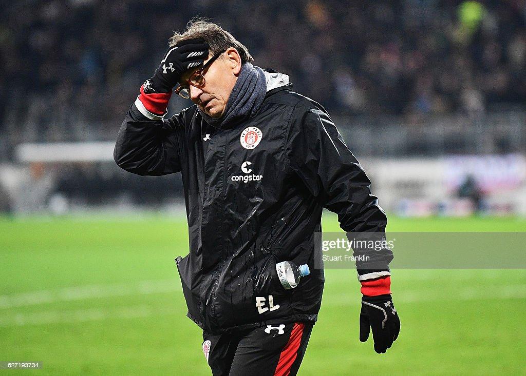 Ewald Lienen head coach of St Pauli dejected after the Second Bundesliga match between FC St. Pauli and 1. FC Kaiserslautern at Millerntor Stadium on December 2, 2016 in Hamburg, Germany.