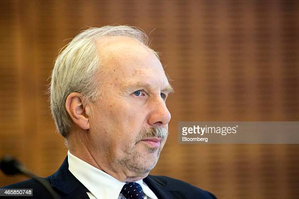 Ewald Nowotny governor of Austria's central bank pauses as he addresses the European Central Bank and its watchers conference in Frankfurt Germany on...
