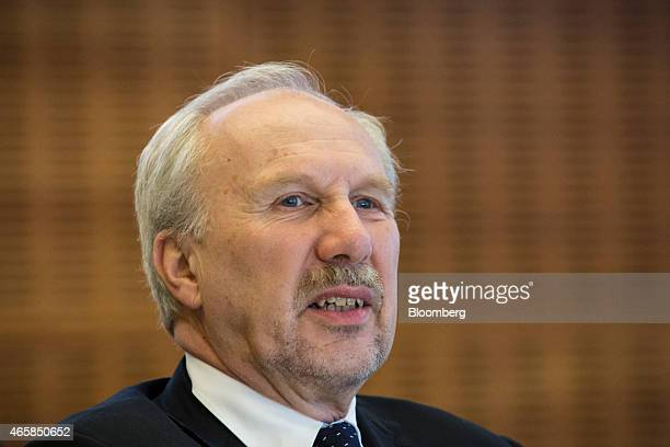 Ewald Nowotny governor of Austria's central bank speaks as he addresses the European Central Bank and its watchers conference in Frankfurt Germany on...