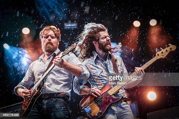 Ewan Currie and Ryan Gullen of The Sheepdogs perform on day 4 of the CityFolk Festival at Lansdowne Park on September 19 2015 in Ottawa Canada