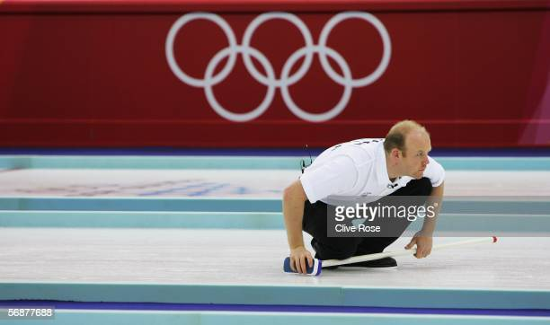 Ewan Macdonald of Great Britain looks on during the preliminary round of the men's curling between Great Britain and Switzerland during Day 8 of the...