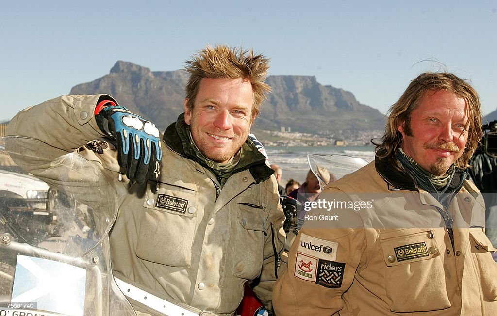 Ewan McGregor and Charley Boorman arrive at the end of their ?Long Way Down' trip, on August 4, 2007 in Cape Town, South Africa. United Nations Children's Fund (UNICEF) Goodwill Ambassador, Ewan McGregor and Charley Boorman, travelled over 15,000 miles on motorcycles from John O'Groats in Scotland to South Africa. Long Way Down is also being made into a TV series. In 2004 they conducted a similar trip, called ?Long Way Round? which saw them travel from London to New York.