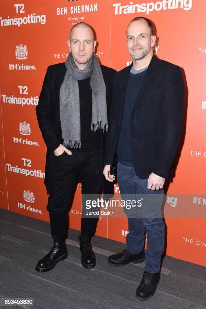 Ewan McGregor and Jonny Lee Miller attend TriStar Pictures The Cinema Society Host a Screening of T2 Trainspotting at Landmark Sunshine Cinema on...