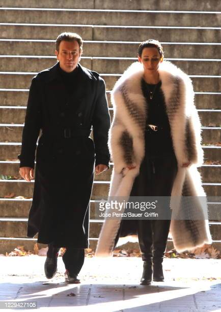 Ewan McGregor and Rebecca Dayan are seen filming 'Simply Halston' on November 02 2020 in New York City