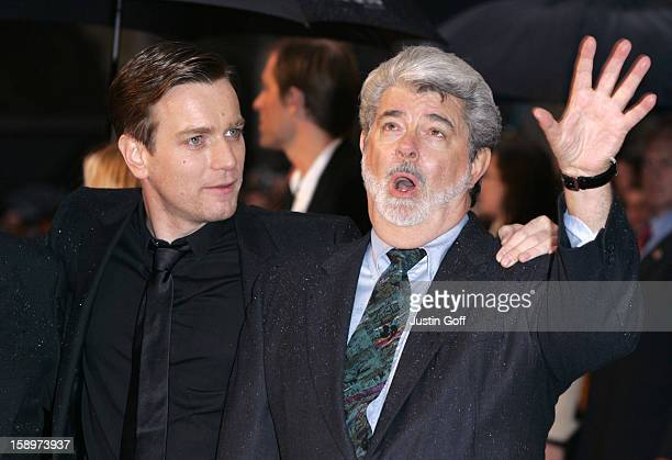 Ewan Mcgregor George Lucas Attend The 'Star Wars Episode Iii Revenge Of The Sith' Uk Film Premiere At The Odeon Cinema In London'S Leicester Square
