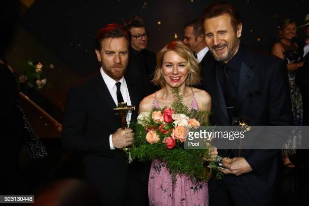 Ewan McGregor Naomi Watts and Liam Neeson during the show of 'Goldene Kamera' at Messehallen on February 22 2018 in Hamburg Germany