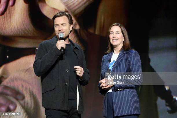 Ewan McGregor of 'Untitled ObiWan Kenobi Series' and Lucasfilm president Kathleen Kennedy took part today in the Disney Showcase at Disney's D23 EXPO...