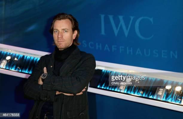 Ewan McGregor visits the IWC booth during the Salon International de la Haute Horlogerie 2014 at the Palexpo on January 21, 2014 in Geneva,...