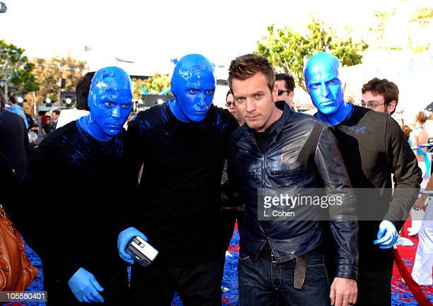 Ewan McGregor with Blue Man Group during 'Robots' Los Angeles Premiere Red Carpet at Mann Village in Westwood California United States