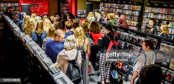 Callum Merrett of Bad Sounds performs live and signs copies of their debut album 'Get Better' during an instore session at Fopp Manchester on August...