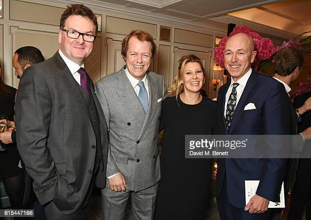 "Ewan Venters, Fortnum & Mason CEO, Tom Parker Bowles, Sara Parker Bowles and Dylan Jones attend the launch of ""Fortnum & Mason: The Cook Book"" by Tom..."