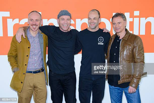 Ewen Bremner Ewan McGregor Jonny Lee Miller and Robert Carlyle attend the T2 Trainspotting photocall at Corinthia Hotel London on January 25 2017 in...