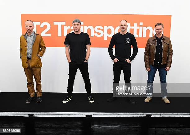 Ewen Bremner Ewan McGregor Jonny Lee Miller and Robert Carlyle attend a T2 Trainspotting photocall at Corinthia Hotel London on January 25 2017 in...