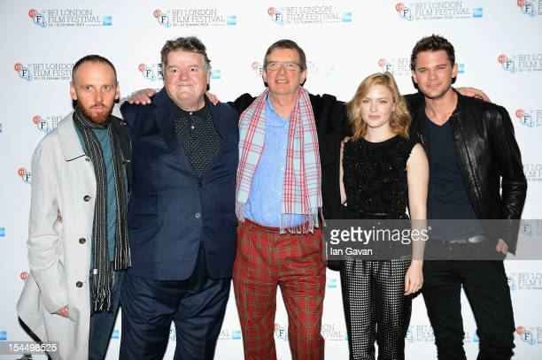 Ewen Bremner Robbie Coltrane director Mike Newell Holliday Grainger and Jeremy Irvine attend the photocall for 'Great Expectations' which will close...
