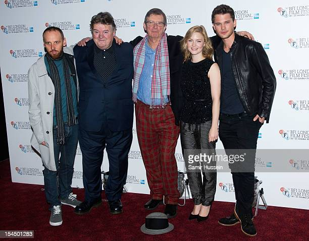 Ewen Bremner Robbie Coltrane director Mike Newell Holliday Grainger and Jeremy Irvine attend the photocall for 'Great Expectations' during the 56th...