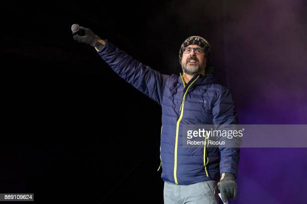 Ewen Cameron performs on stage during Sleep In The Park a Mass Sleepout organised by Scottish social enterprise Social Bite to end homelessness in...