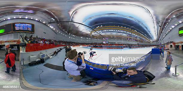 Ewen Fernandez of France competes during during the Men's 5000m Speed Skating event during day 1 of the Sochi 2014 Winter Olympics at Adler Arena...