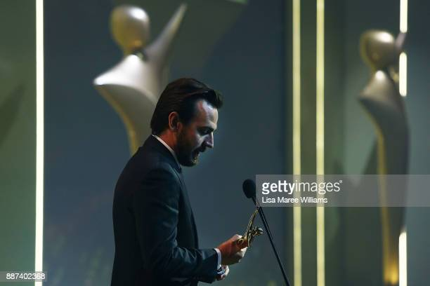 Ewen Leslie accepts the AACTA Award for Best Guest or Supporting Actor in a Television Drama during the 7th AACTA Awards Presented by Foxtel at The...