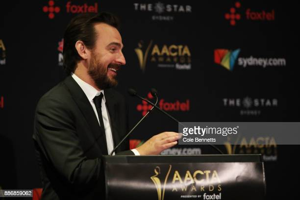 Ewen Leslie addresses the media during the 7th AACTA Awards Presented by Foxtel | Ceremony at The Star on December 6 2017 in Sydney Australia