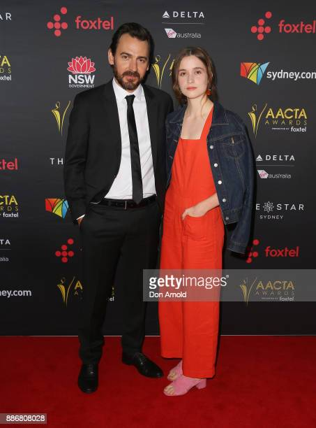 Ewen Leslie and Alice Englert pose during the 7th AACTA Awards at The Star on December 6 2017 in Sydney Australia