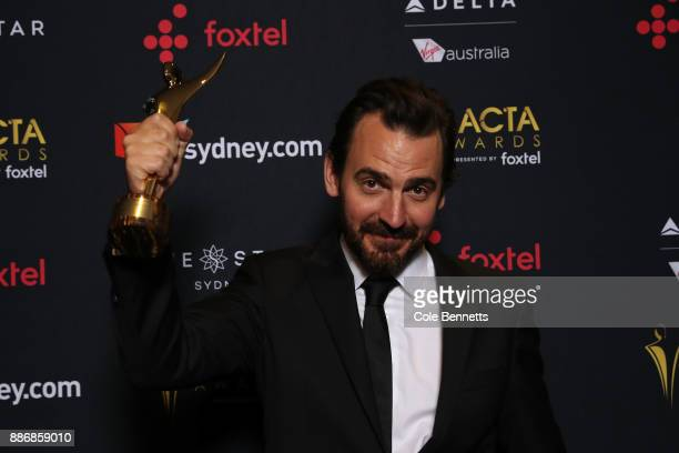 Ewen Leslie poses with an AACTA Award for Best Lead Actor during the 7th AACTA Awards Presented by Foxtel | Ceremony at The Star on December 6 2017...