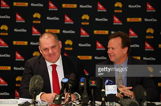 Ewen McKenzie during a press conference to announce his appointment as the Wallaby coach by Australian Rugby Union CEO Bill Pulver in Brisbane on...