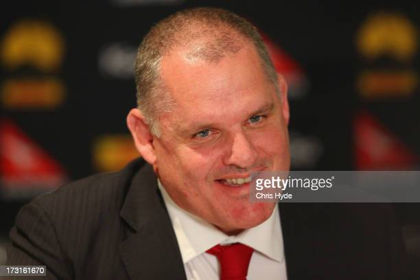 Ewen McKenzie speaks to media after being appointed as the new ARU Wallabies coach at the Sofitel Hotel on July 9 2013 in Brisbane Australia