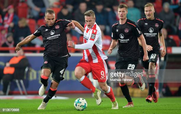 Ewerton of 1 FC Nuernberg Sebastian Polter of 1FC Union Berlin Patrick Erras and Hanno Behrens of 1 FC Nuernberg during the game between Union Berlin...