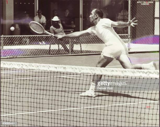 Ewton Guy Ewton Stretches for Volley in Senior Tournament Finals Guy Ewton moves to his right to return a sharp volley against Bob Acsell in the...