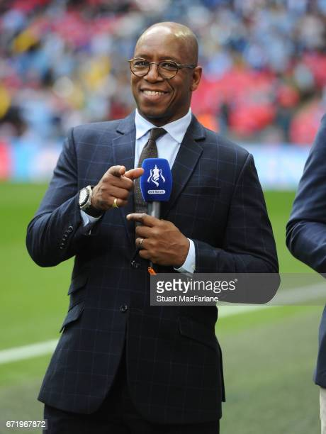 Ex Arsenal player and now pundit Ian Wright before the Emirates FA Cup Semi-Final match between Arsenal and Manchester City at Wembley Stadium on...
