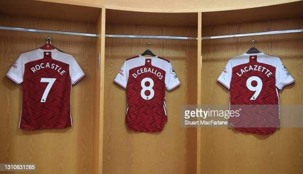 Ex Arsenal player David Rocastle's shirt hangs in the changing room before the Premier League match between Arsenal and Liverpool at Emirates Stadium...