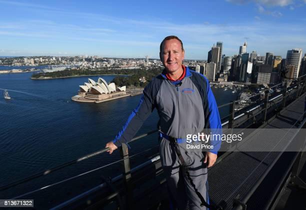 Ex Arsenal player Ray Parlour climbs the Sydney Harbour Bridge on July 13, 2017 in Sydney, Australia.
