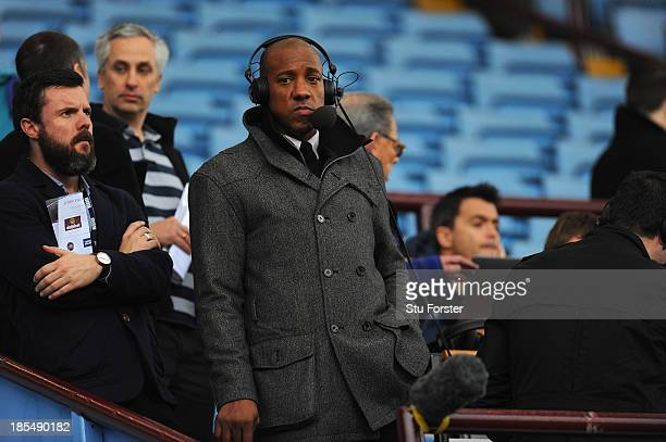 Ex Aston Villa player Dion Dublin looks on before the Barclays Premier League match between Aston Villa and Tottenham Hotspur at Villa Park on...