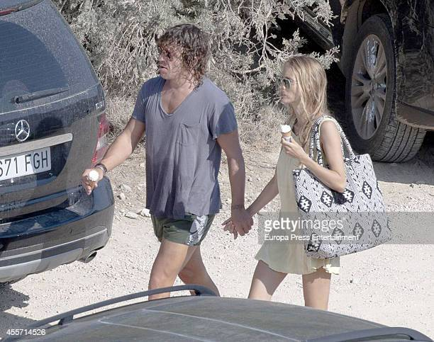 Ex Barcelona football player Carles Puyol and Vanessa Lorenzo are seen on August 22 2014 in Ibiza Spain
