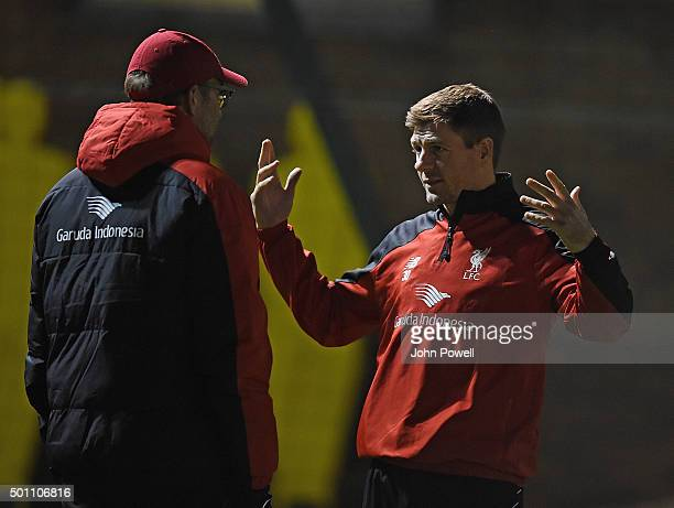 Ex Captain of Liverpool Steven Gerrard with Manager Jurgen Klopp during a training session at Melwood Training Ground on December 12 2015 in...