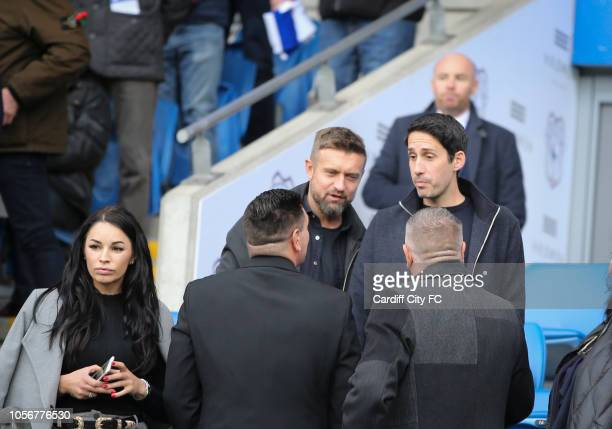 Ex Cardiff City players Steve McPhail and Peter Whittingham before the Premier League match between Cardiff City and Leicester City at Cardiff City...