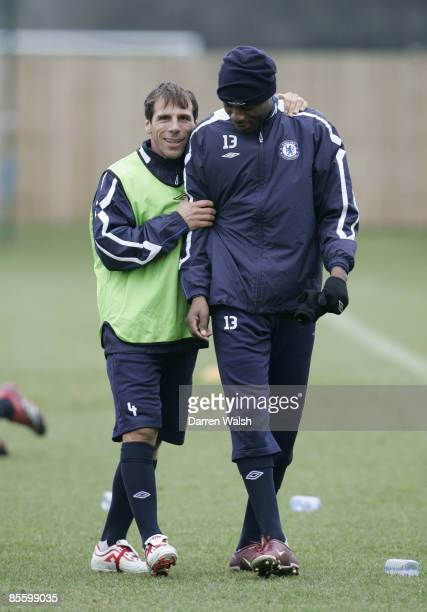 Ex Chelsea legend Gianfranco Zola has a laugh with William Gallas during a training session with Chelsea today ahead of tomorrows match at...